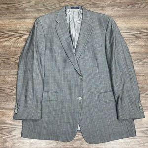 Hart Schaffner Marx Grey & Blue Plaid Blazer 46R